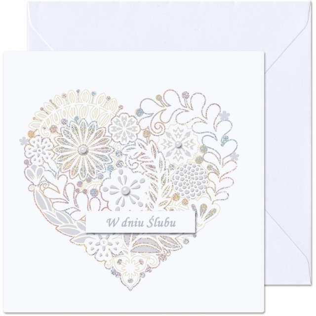 """Kartka okolicznościowa """"W dniu Ślubu - Kwiatowe serce"""", Paw, 15,4 x 15,4 cm"""