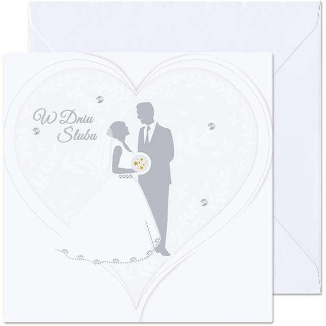 """Kartka okolicznościowa """"W dniu Ślubu - Para Młoda"""", Paw, 15,4 x 15,4 cm"""