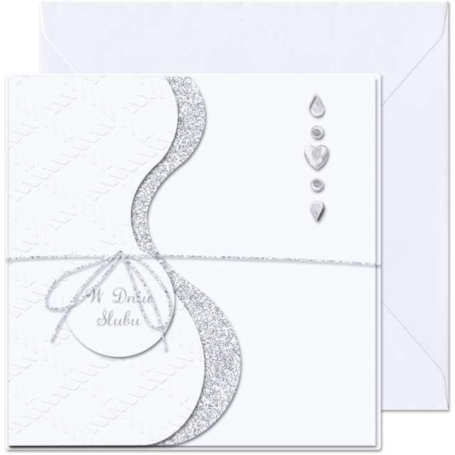"""Kartka okolicznościowa """"W dniu Ślubu - diamenciki"""", Paw, 15,4 x 15,4 cm"""