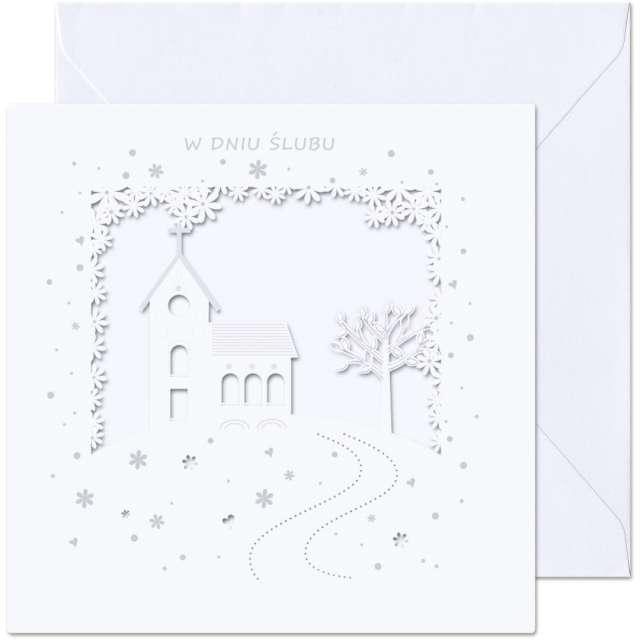 """Kartka okolicznościowa """"W dniu Ślubu - kościół"""", Paw, 15,4 x 15,4 cm"""