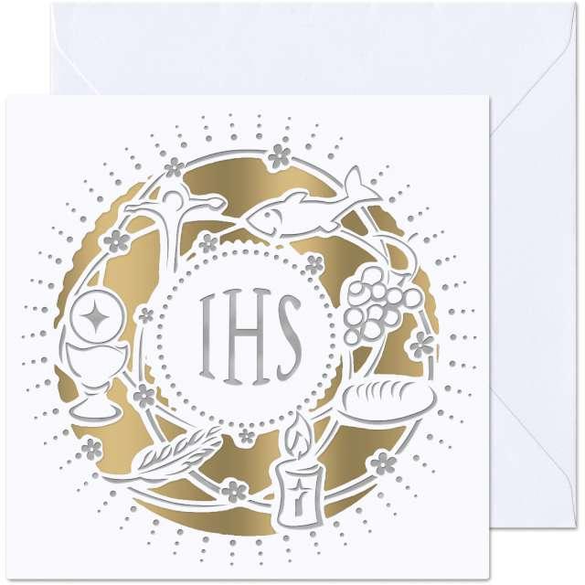 _xx_kartka pierwsza komunia szara w kropki IHS