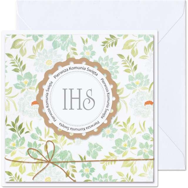 _xx_kartka pierwsza komunia IHS kolo i liscie