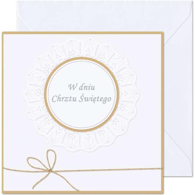 """Kartka okolicznościowa """"W dniu Chrztu Św. - biała falbanka"""", Paw, 15,4 x 15,4 cm"""