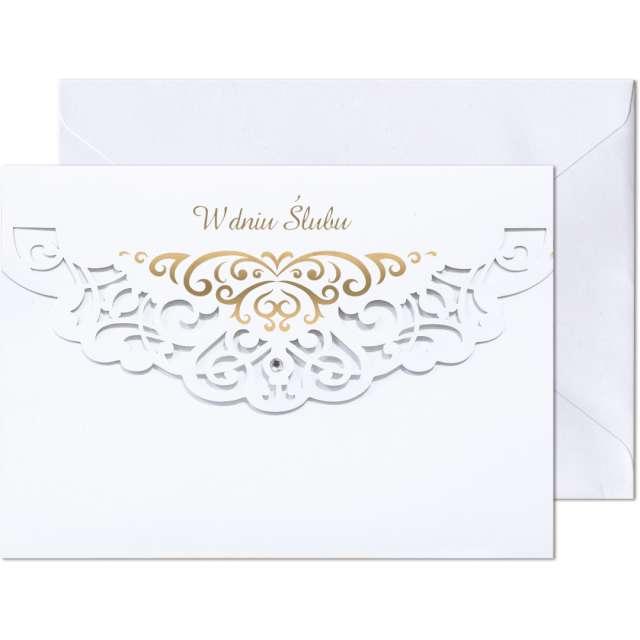 """Kartka okolicznościowa """"W dniu Ślubu - Ornament"""", Paw, 17,6 x 12,5 cm"""