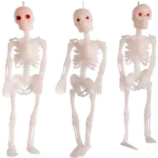 """Dekoracja """"Trzy szkielety"""", biała, Carnival Toys, 12 cm, 3 szt"""