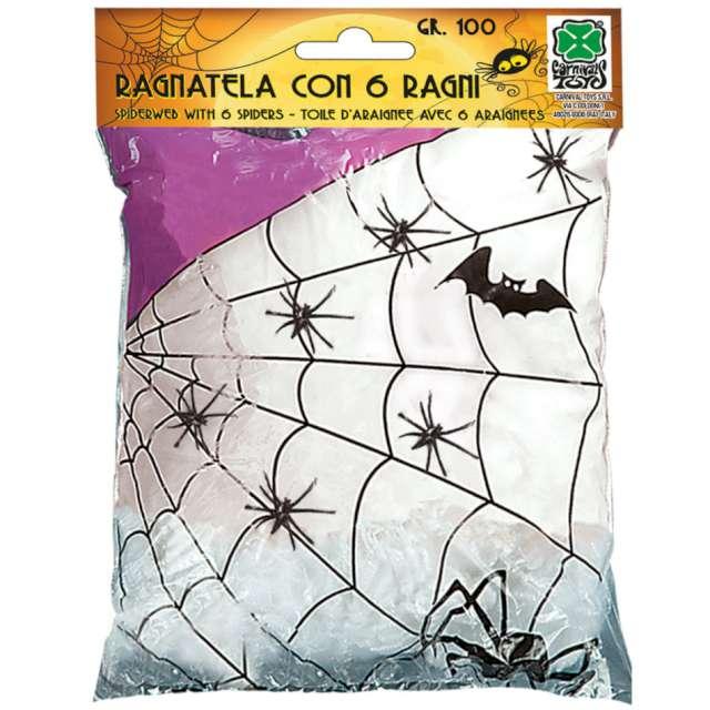 Dekoracja Pajęczyna z pająkami biała Carnival Toys 100 g