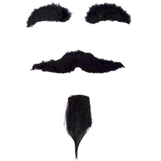 Zestaw Diabelskie wąsy broda brwi czarny Carnival Toys
