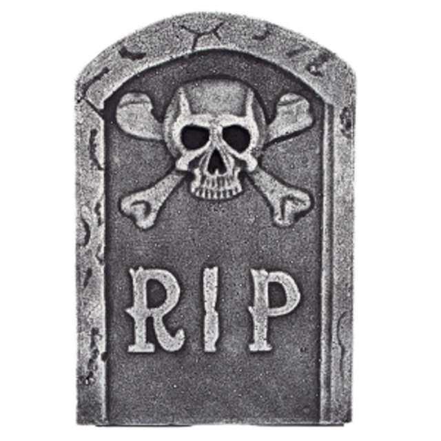 """Dekoracja """"Nagrobek z czaszką RIP"""", szara, Amscan, 31 cm"""