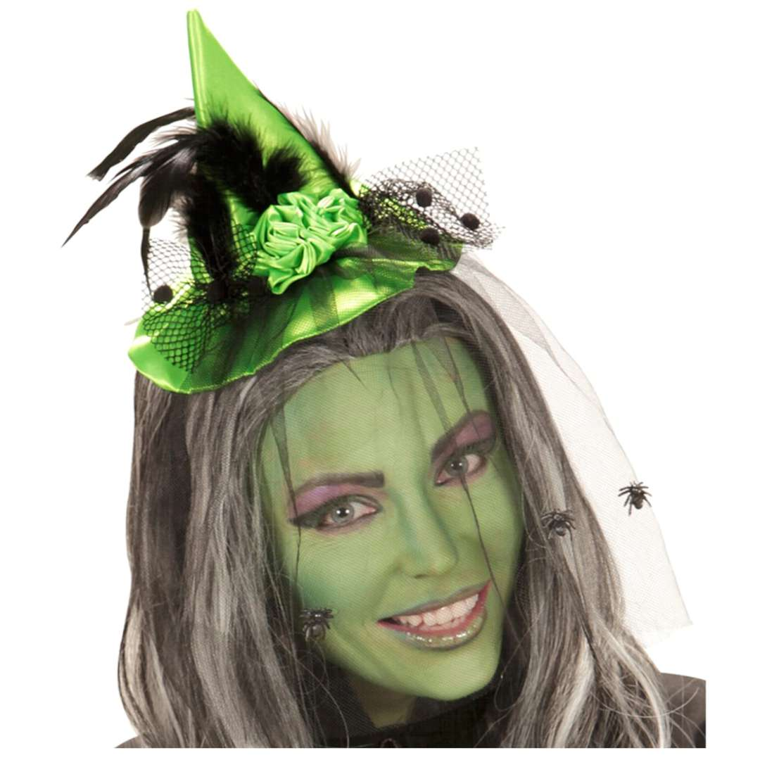 Opaska party Kapelusz z welonem zielona Widmann