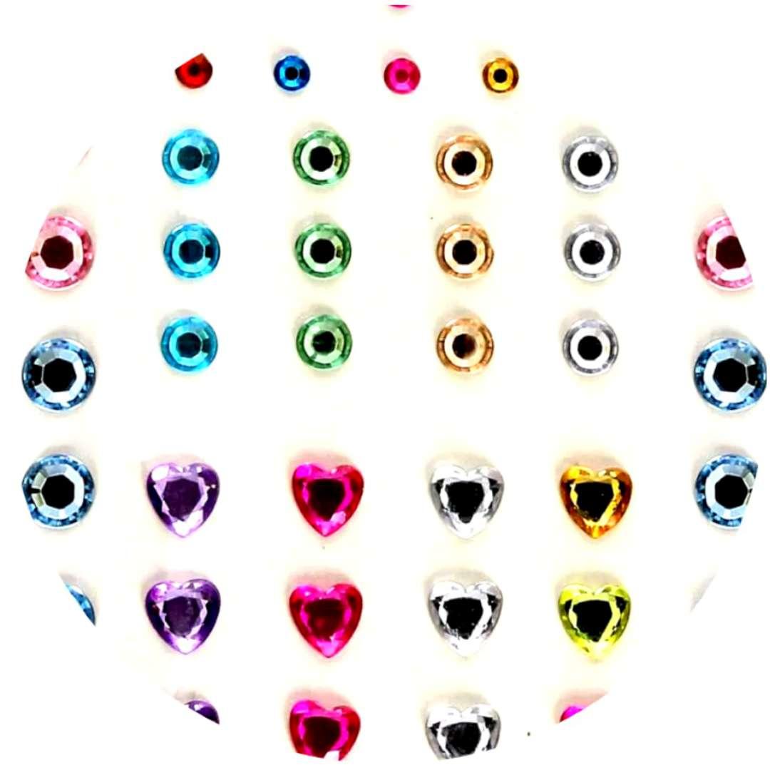 """Dżety samoprzylepne """"Kryształki 3D serduszki i okrągłe"""", mix, Brewis"""