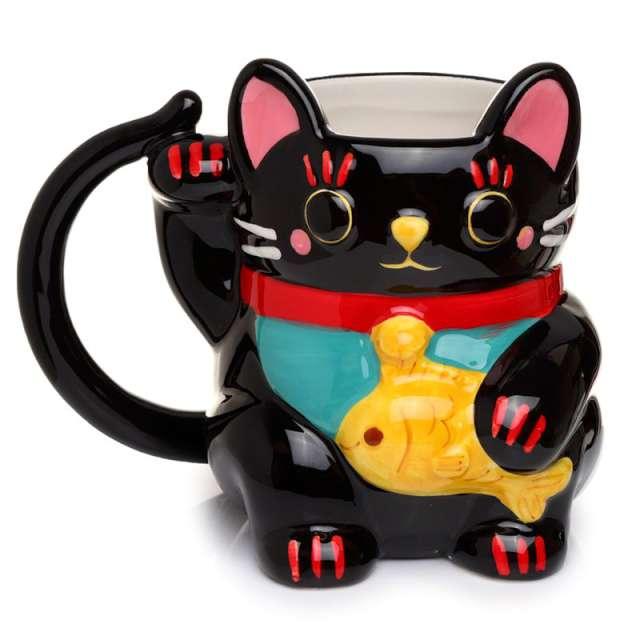 """Kubek """"Kot Szczęścia"""", czarny, Kemiś, 450 ml"""