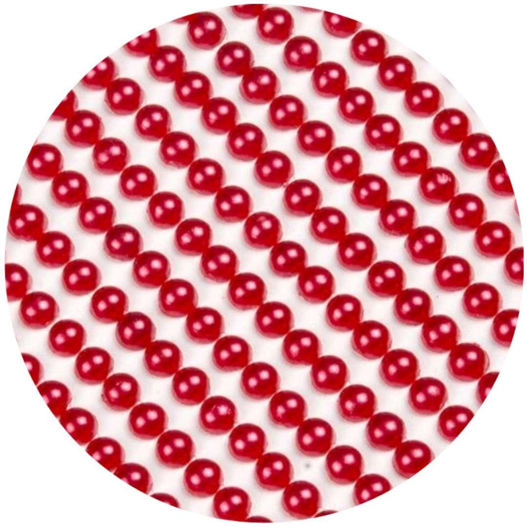 """Dżety samoprzylepne """"Perełki 3D okrągłe"""", czerwone, Brewis"""