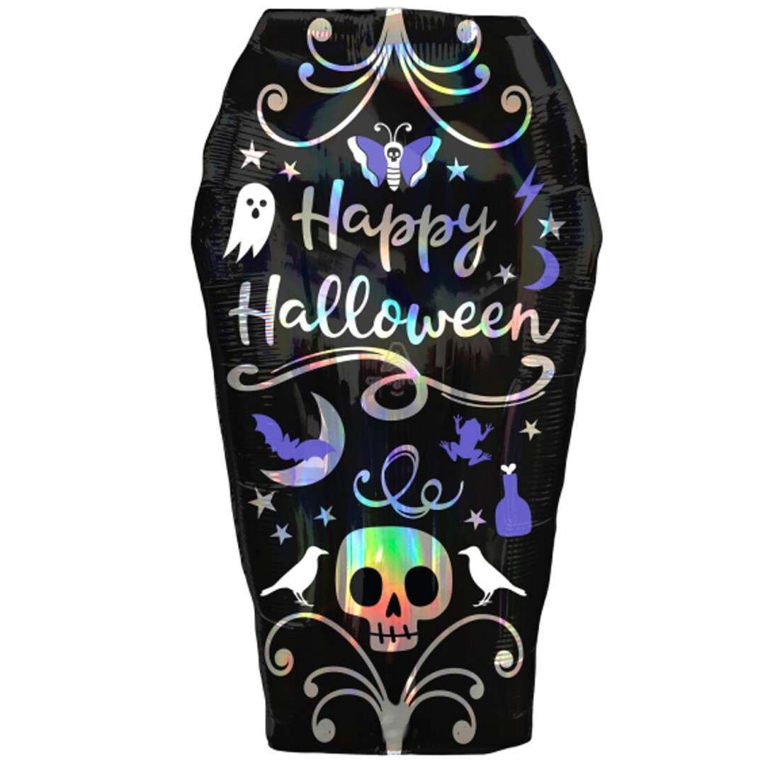 "Balon foliowy ""Trumna - Happy Halloween"", czarny, Amscan, 27"", SHP"