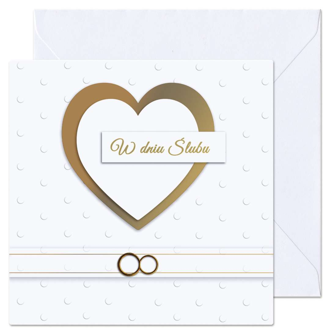 """Kartka okolicznościowa """"W dniu Ślubu - Złote serce"""", Paw, 15,4 x 15,4 cm"""