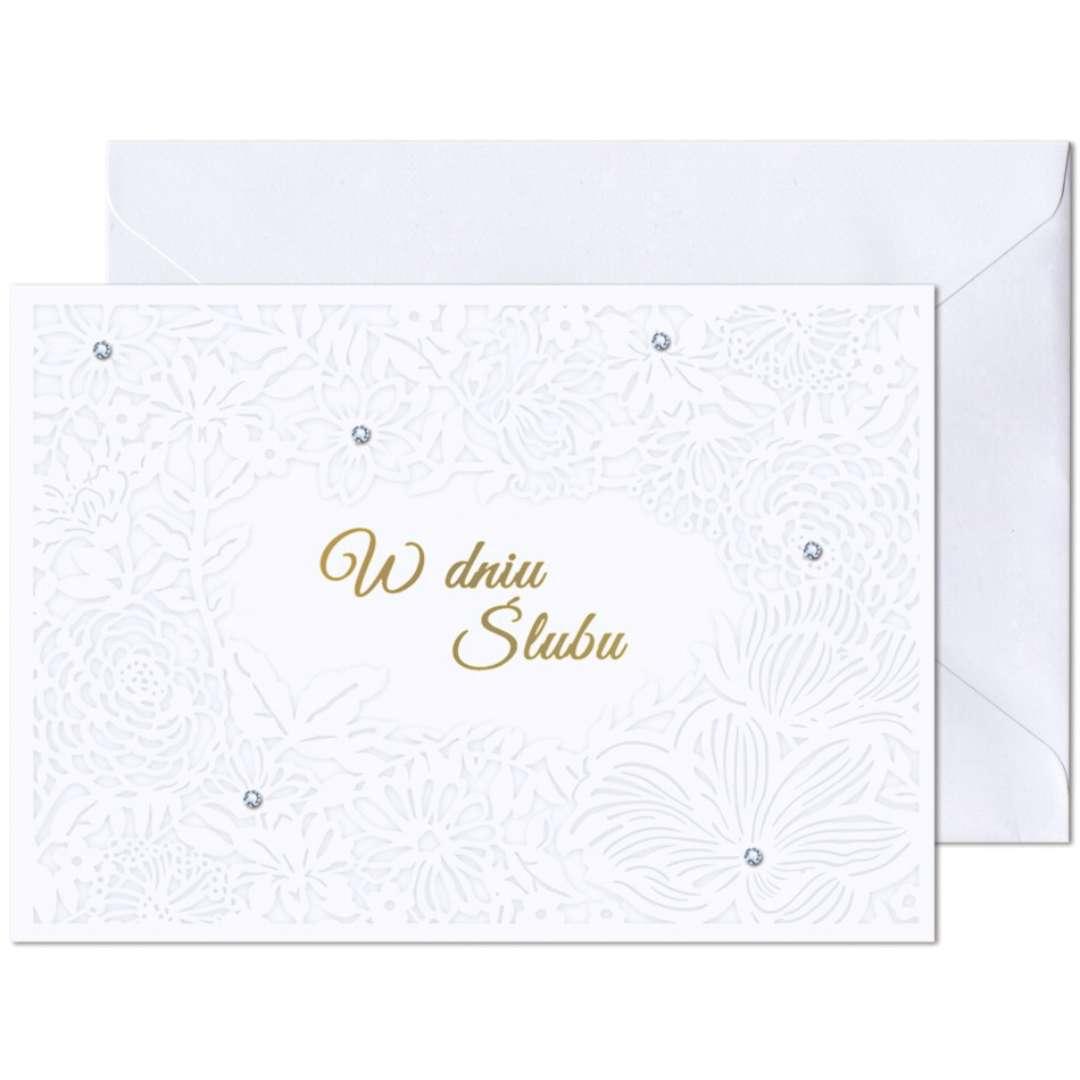 """Kartka okolicznościowa """"W dniu Ślubu - Ażur kwiatowy"""", Paw, 17,6 x 12,5 cm"""