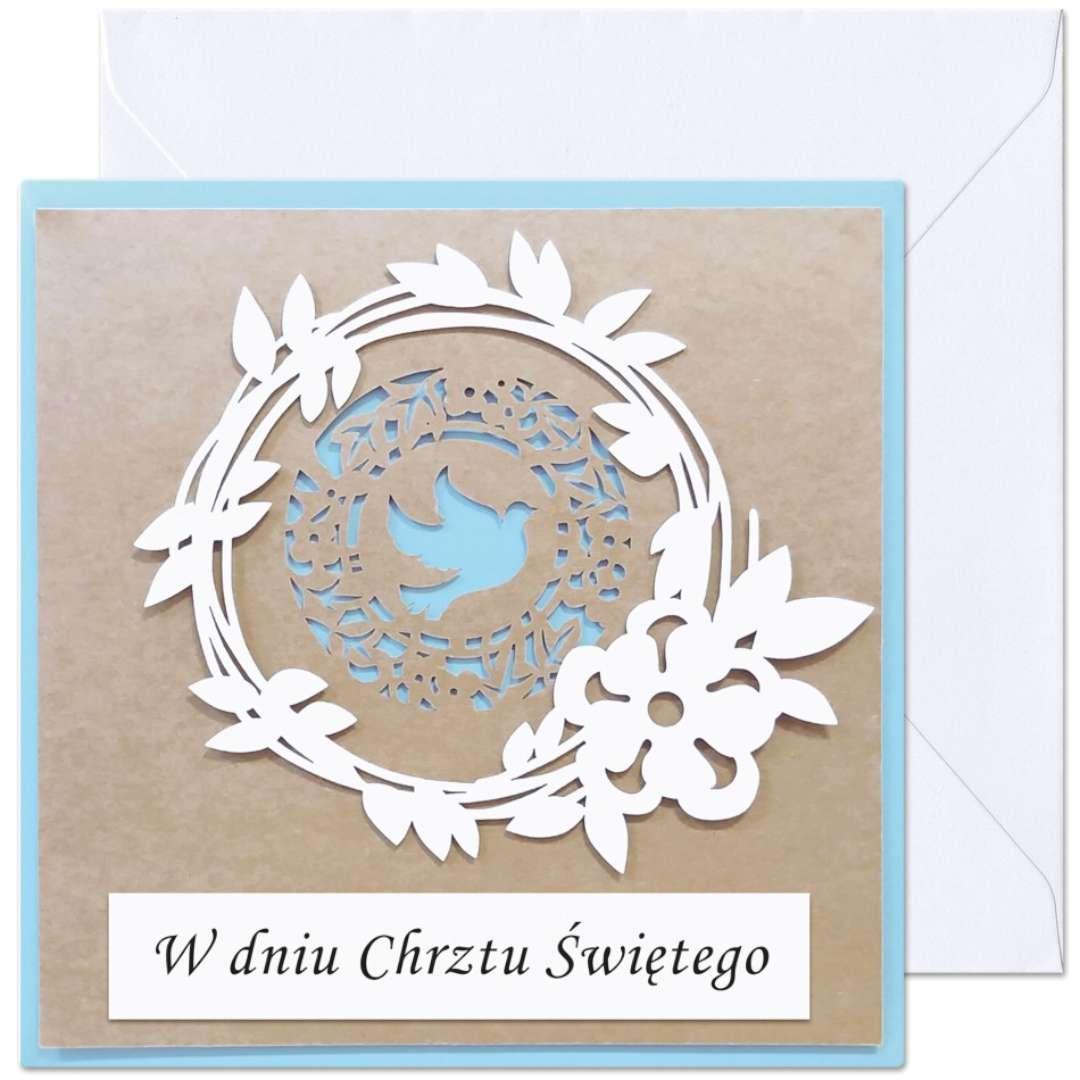 """Kartka okolicznościowa """"W dniu Chrztu Św. - dla chłopca"""", Paw, 15,4 x 15,4 cm"""
