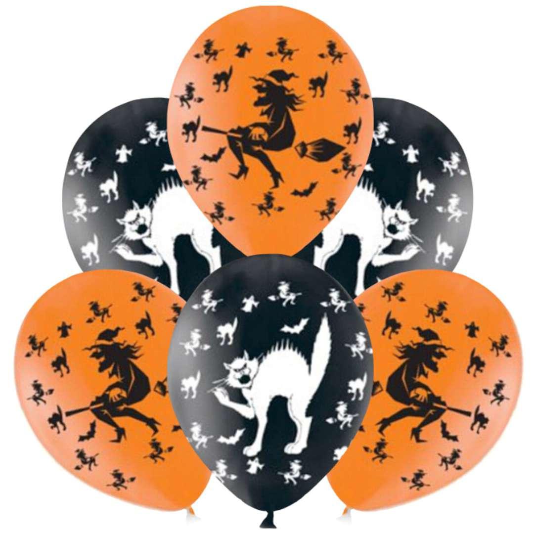 """Balony """"Czarownice i koty"""", czarno-pomaranczowe, AMSCAN, 11"""", 6 szt"""