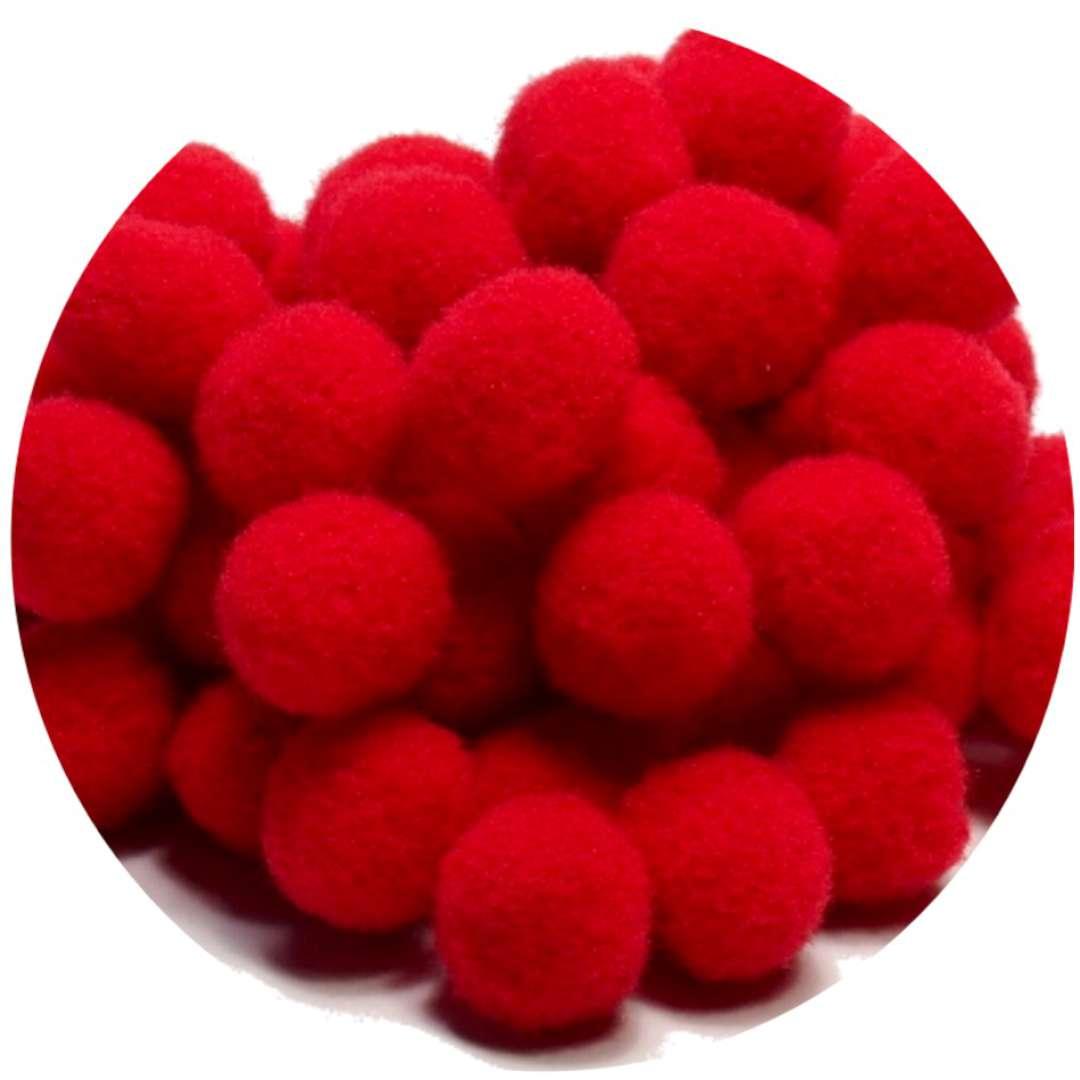 Pompony dekoracyjne Pluszowe czerwone Godan 10 szt