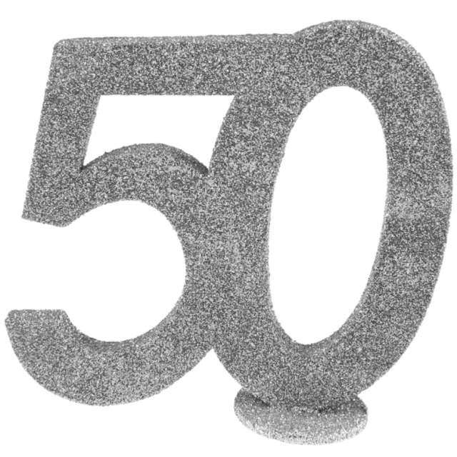 Dekoracja stojąca Brokatowa Liczba 50 srebrna Santex 10 cm