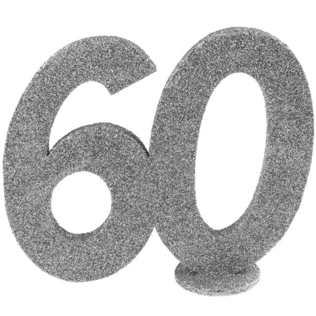 Dekoracja stojąca Brokatowa Liczba 60 srebrna Santex 10 cm