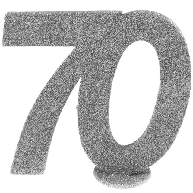 """Dekoracja stojąca """"Brokatowa Liczba 70"""", srebrna, Santex, 10 cm"""