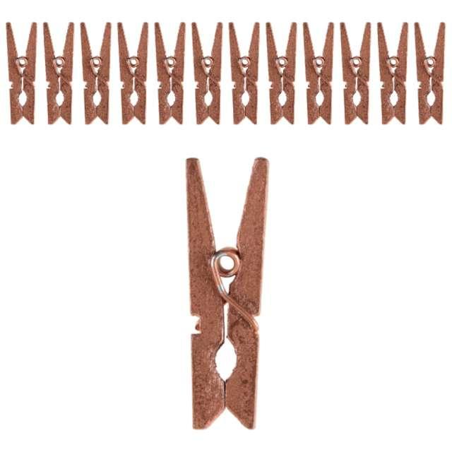 Klamerki drewniane 35 cm różowe złoto SANTEX 12 szt