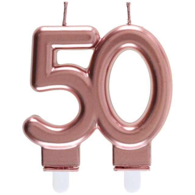 """Świeczka na tort """"Cyfra 50"""", różowe złoto, Santex, 9 cm"""
