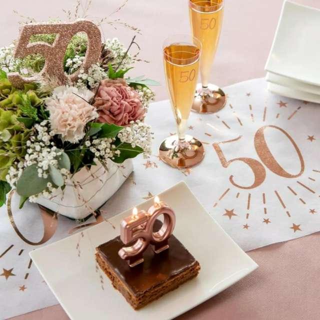 Świeczka na tort Cyfra 50 różowe złoto Santex 9 cm