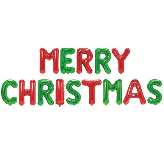 """Balon foliowy """"Litery Merry Christmas"""", czerwono-zielone, PartyPal, 18"""""""