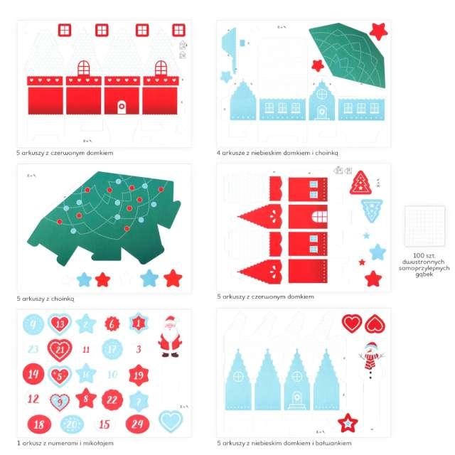 Kalendarz adwentowy DIY Zimowe Domki PartyPal 1 kompl.