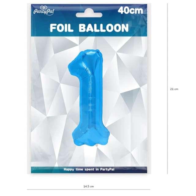 Balon foliowy Cyfra 1 niebieski PartyPal 16