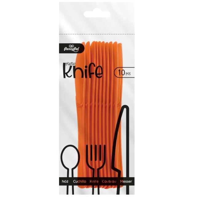 Noże plastikowe Classic pomarańczowe PartyPal 10 szt