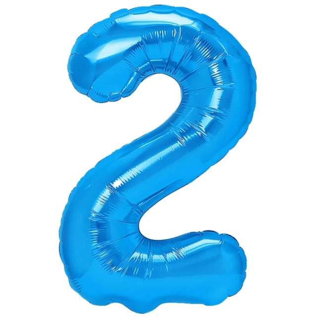 """Balon foliowy """"Cyfra 2"""", niebieski, PartyPal, 16"""""""