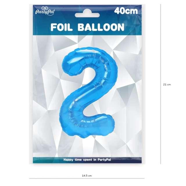 Balon foliowy Cyfra 2 niebieski PartyPal 16