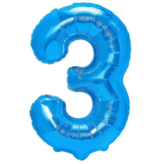 """Balon foliowy """"Cyfra 3"""", niebieski, PartyPal, 16"""""""