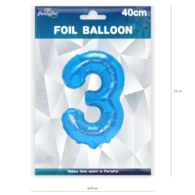 Balon foliowy Cyfra 3 niebieski PartyPal 16
