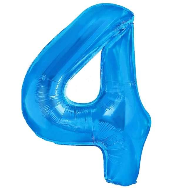 """Balon foliowy """"Cyfra 4"""", niebieski, PartyPal, 16"""""""