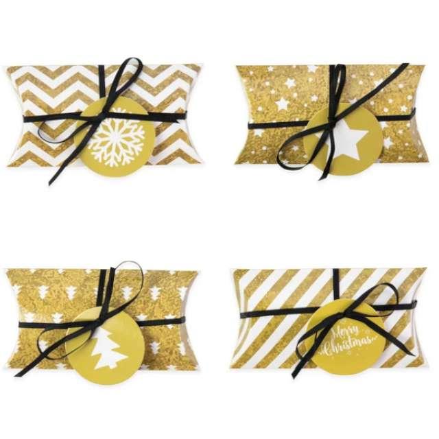 """Pudełeczka dla gości """"Merry Xmas - DIY"""", złote, PartyPal, 4 szt"""