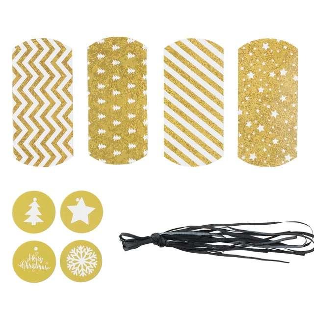 Pudełeczka dla gości Merry Xmas - DIY złote PartyPal 4 szt