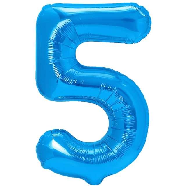 """Balon foliowy """"Cyfra 5"""", niebieski, PartyPal, 16"""""""