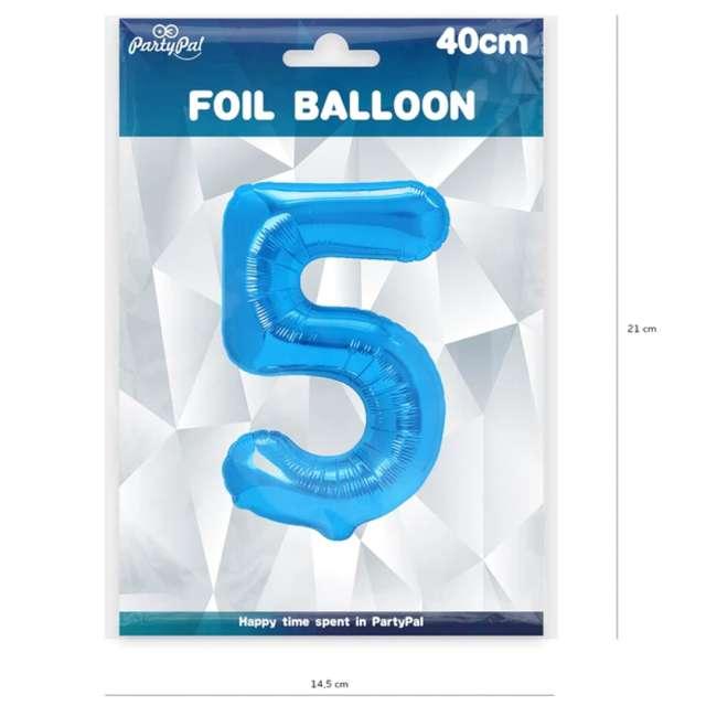 Balon foliowy Cyfra 5 niebieski PartyPal 16