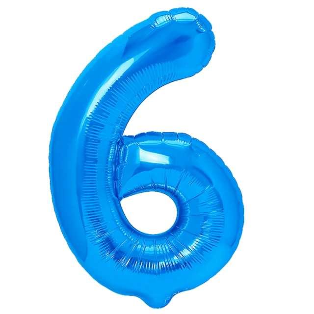 """Balon foliowy """"Cyfra 6"""", niebieski, PartyPal, 16"""""""