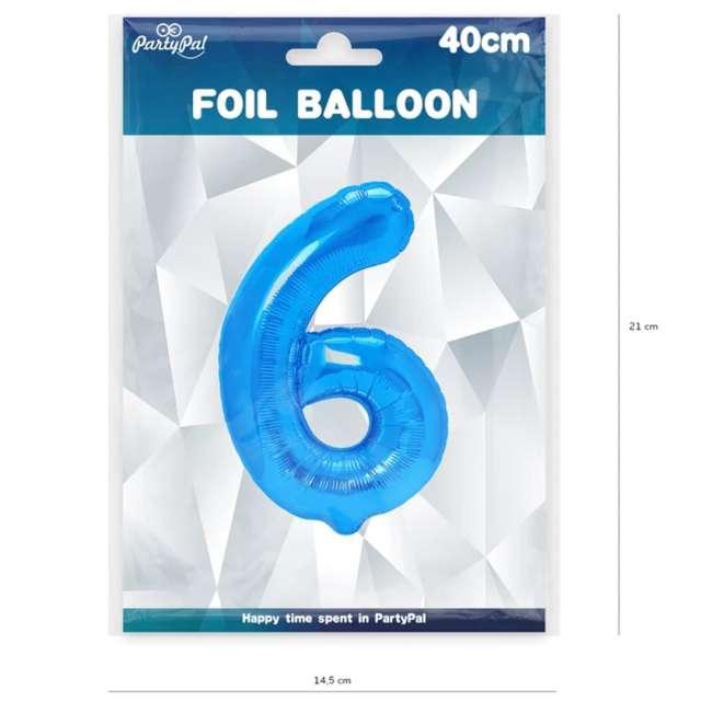 Balon foliowy Cyfra 6 niebieski PartyPal 16
