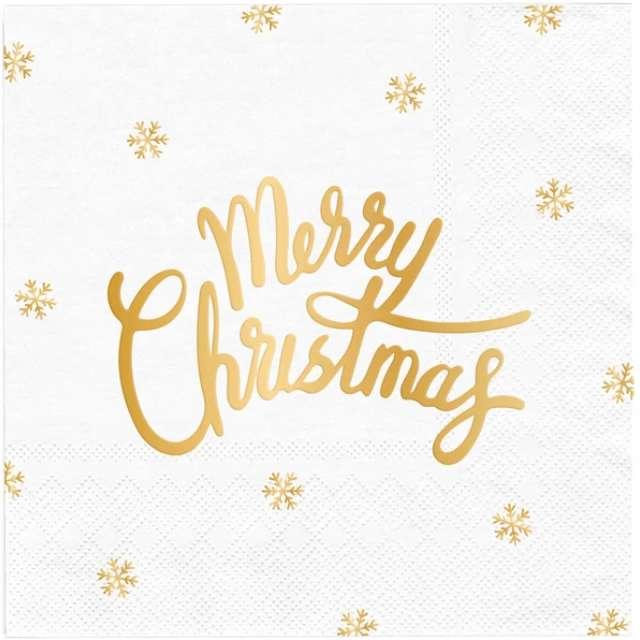 """Serwetki """"Złote Merry Christmas"""", białe, PartyPal, 33cm, 10 szt"""