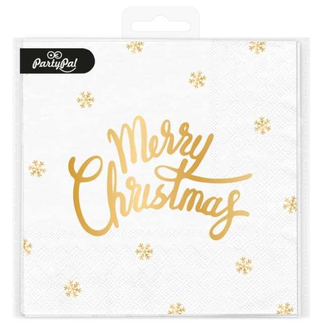 Serwetki Złote Merry Christmas białe PartyPal 33cm 10 szt