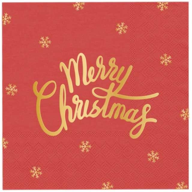 """Serwetki """"Złote Merry Christmas"""", czerwone, PartyPal, 33cm, 10 szt"""