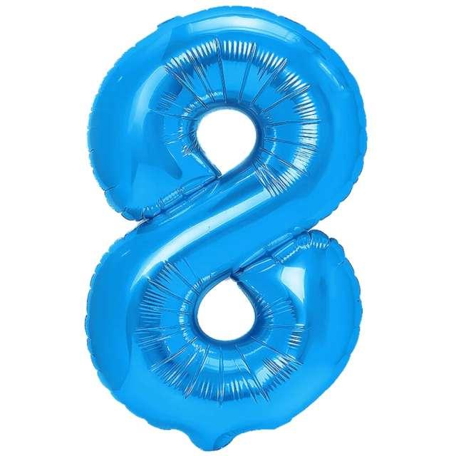 """Balon foliowy """"Cyfra 8"""", niebieski, PartyPal, 16"""""""
