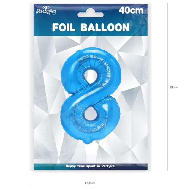 Balon foliowy Cyfra 8 niebieski PartyPal 16