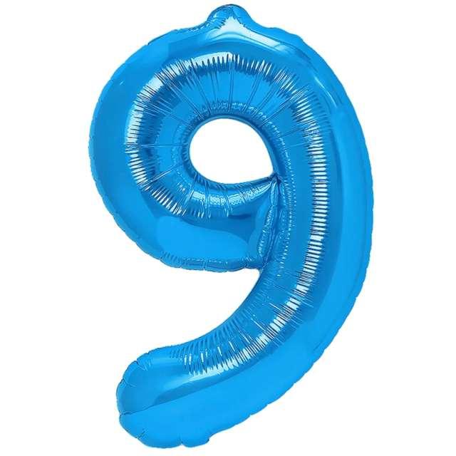 """Balon foliowy """"Cyfra 9"""", niebieski, PartyPal, 16"""""""