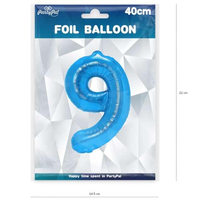 Balon foliowy Cyfra 9 niebieski PartyPal 16